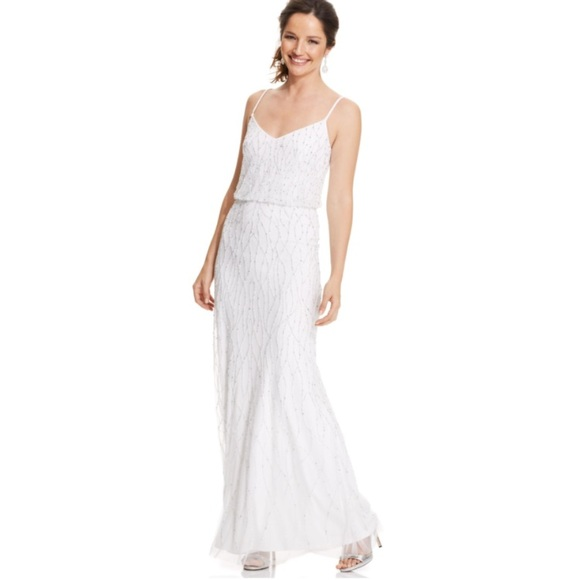 Adrianna Papell Dresses | White Beaded Formal Gown New With Damages ...